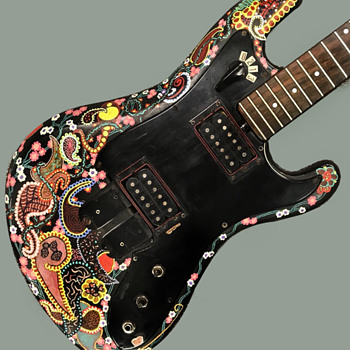 Vintage Early 1970's Hippie psychedelic Folk Art Eko Electric Guitar - Folk Art