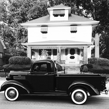 My house built in 1928 and my 1937 Chevrolet truck in black and white  - Photographs