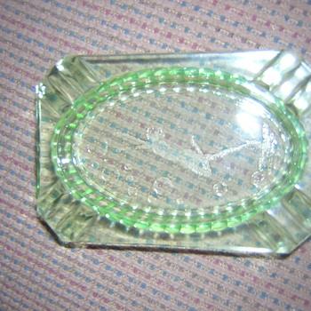 Green Glass Ashtray Art Deco