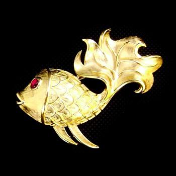Crown Trifari Goldfish Brooch - Costume Jewelry