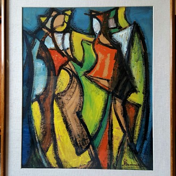 Bertalan Bodnar Original Painting  - Mid-Century Modern