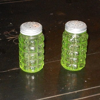 Vintage Vaseline Glass Salt and Pepper Shakers