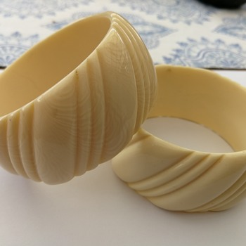 Most likely french ivory (Celluloid) bangles - Costume Jewelry