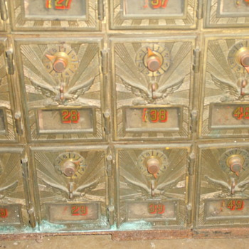brass p.o. boxes with eagle - Office
