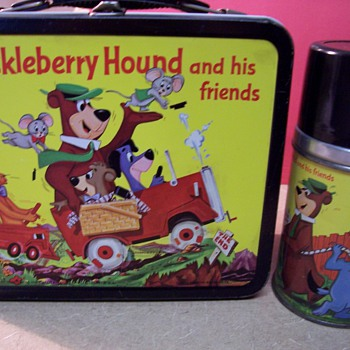 1961 Huckleberry Hound/Quick Draw McGraw Metal Lunchbox - Kitchen