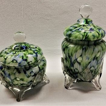 Welz Lidded Jars - Art Glass
