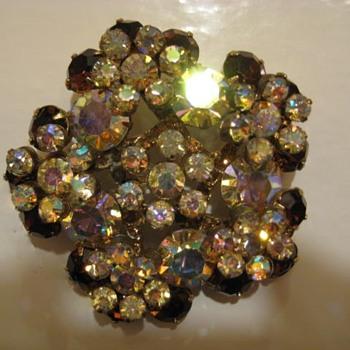 JULIANA ref #1386 Topaz & AB Brooch - Costume Jewelry