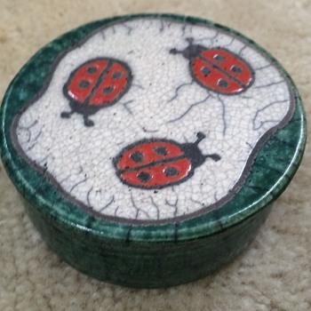 Trinket Box with Lady Bug Decor - Pottery
