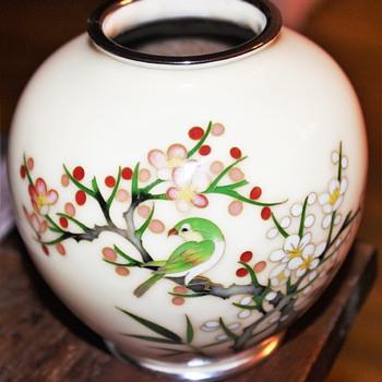 Japanese Cloisonne Copper & Enamel Bird Vase Cherry Blossoms - Asian
