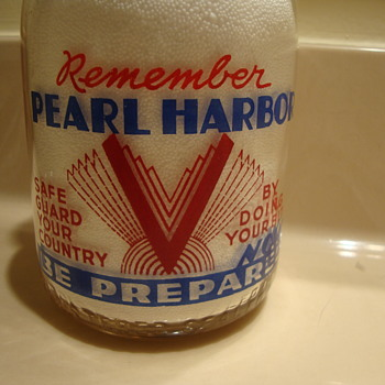 REMEMBER PEARL HARBOR quart milk bottle... SPRING GROVE DAIRY - Bottles