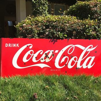 1950's Porcelain Coca Cola sled sign with buckshot preserved - Coca-Cola