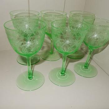 Victorian Uranium Wine Glasses - Victorian Era