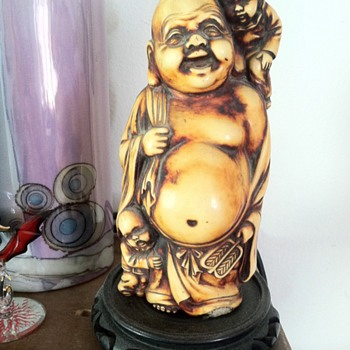 Dad's Laughing Buddha with children 1940's China - Asian