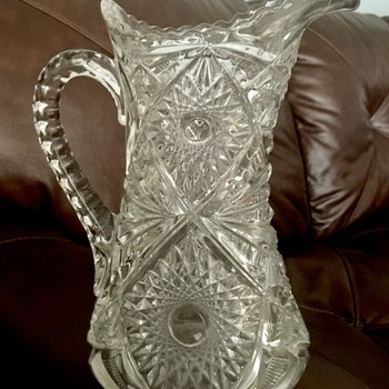 Thick heavy glass pitcher