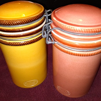 two small Italian ceramic clamp-top canister jars - Kitchen