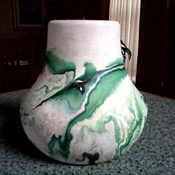 Nemadji  Pottery Vase /Matte Swirled Green Finish / Circa 1950 - Pottery