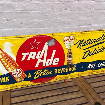 1950's Tru Ade Embossed Tin Sign - Advertising
