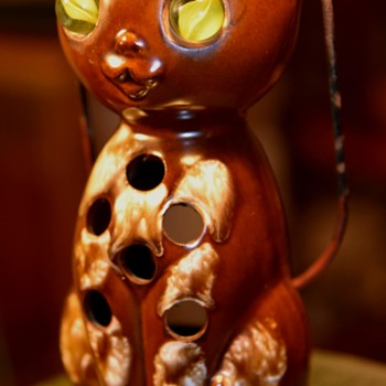 Happy Hallowe'en!  Pottery Lantern for a Candle - Made in Japan - Advertising