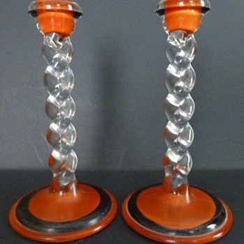 Tiffin Glass  twisted candlesticks - Art Glass