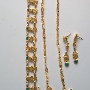 Sterling Vermeil Peruvian Demi-Parure Flea Market Find 2 Euro - Fine Jewelry