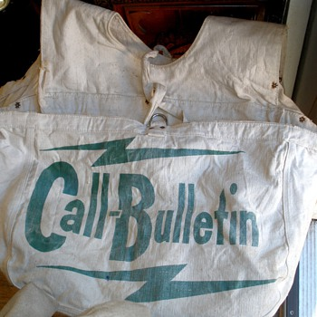 RARE! SF Call Bulletin Newspaper Pre-1960's Canvas Paperboy Delivery Saddle Bag - Paper