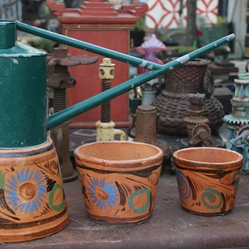 Mexican Flower Pots and a Long-handled Watering Can - Pottery