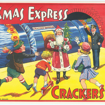 British Paper crate labels for Batgers Crackers Santa Claus vintage Christmas Train