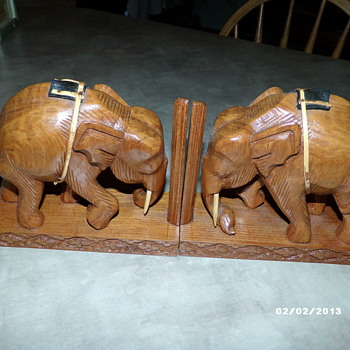 Hand Carved Book-Ends - Asian