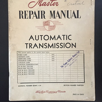 Master repair manual automatic transmission booklet.