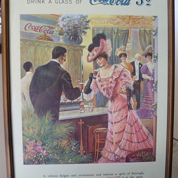Early 1900s Coca-Cola Cardboard Poster - at the theatre - Coca-Cola