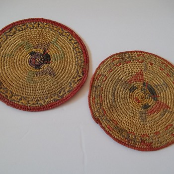 Hand Woven Native basket Trivets or Plate warmers Colorful style design - Kitchen