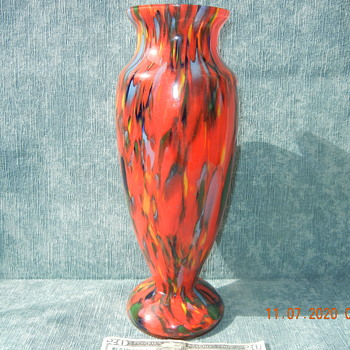 Vintage Large Bohemian/Czechoslovakian  End-Of-Day Spatter Glass Vase - Art Glass