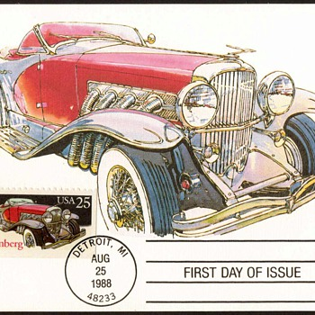 "1988 - ""1935 Duesenberg"" - First Day Issue Stamped Card - Stamps"