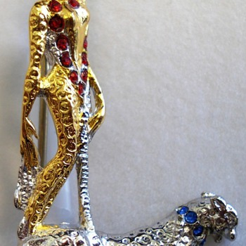 art deco lady erte letter L brooch-necklace - Costume Jewelry