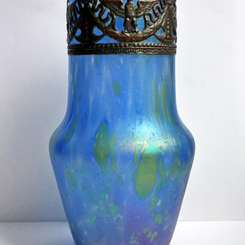 Bohemian Iridescent Blue Glass Vase with Embossed Copper Collar - Art Glass