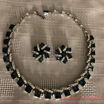Navy Blue & Clear Crystals — Necklace & Earring Set - Costume Jewelry