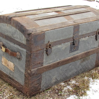 "Mid 1870's 32"" Pure Zinc Barrel Stave Trunk  - Furniture"