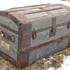 "Mid to late 1870's 32"" Pure Zinc Roll Top Trunk"