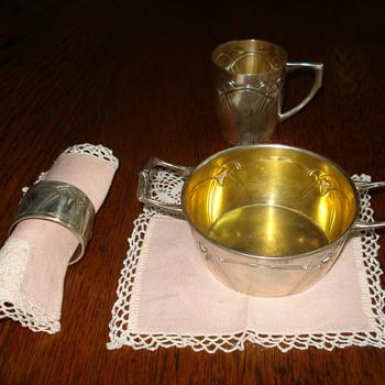 Silver Art Nouveau/Jugendstil christening set - Silver