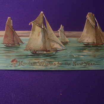 "1890 STAND-UP ""EASLE"" CUT OUT NEW YEARS GREETING', SAILBOATS.""BEST WISHES FOR THE NEW YEAR' - Cards"