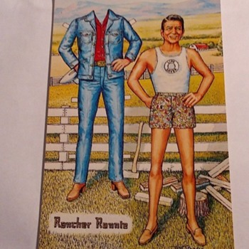 "RONALD REAGAN PAPER DOLL-POSTCARD--""RANCHER RONNIE"" - Postcards"