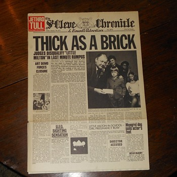 Jethro Tull Thick As A Brick Newspaper Album 1972 - Records