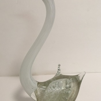 "Italian Art Glass Swan Bird 11.5"" tall mica/aventurtine inclusions ???"