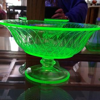 Uranium glass pedestal bowl