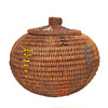 Round Coiled Lidded Basket With Colored Seed Beads