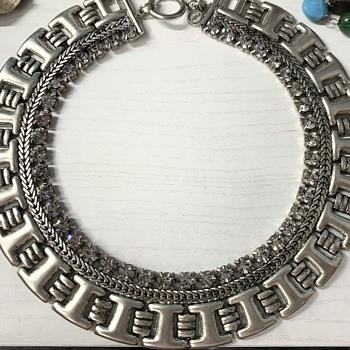 Silver Tone & Rhinestone Necklace  - Costume Jewelry