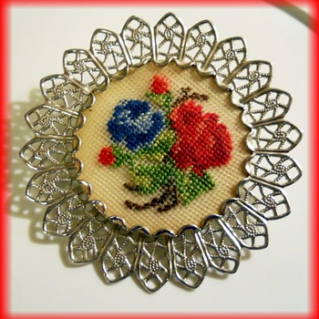Brooch / Scarf Pin / Necklace -- Embroidery Unknown Maker  Filigree - Costume Jewelry