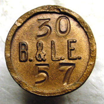 B&LE copper Hubbard Pole Nail - Railroadiana