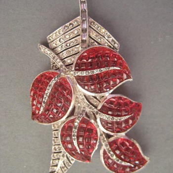 Trifari KTF Invisibly Set Rhinestone Brooch - Costume Jewelry