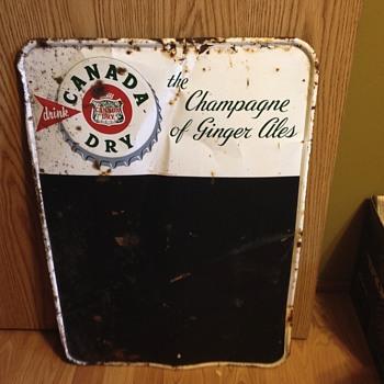 1930s Canada Dry  chalkboard
